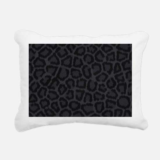 BLACK LEOPARD PRINT Rectangular Canvas Pillow