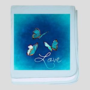 Love & Butterflies (Blue) baby blanket