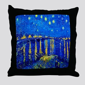 Van Gogh Starry Night Over Rhone Throw Pillow