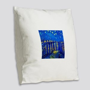 Van Gogh Starry Night Over Rhone Burlap Throw Pill