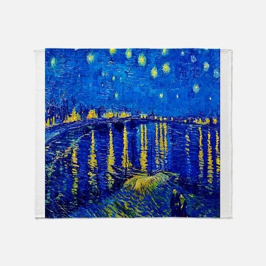 Van Gogh Starry Night Over Rhone Throw Blanket