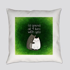 My 9 Lives with You (Green) Everyday Pillow