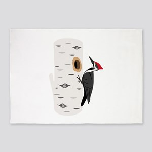 Red Headed Woodpecker 5'x7'Area Rug