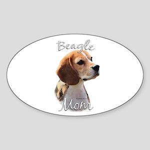 Beagle Mom2 Oval Sticker