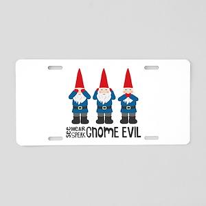 Gnomes No Evil Aluminum License Plate
