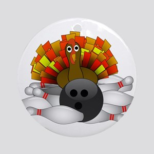 Bowling Strike! Bowling Turkey Round Ornament