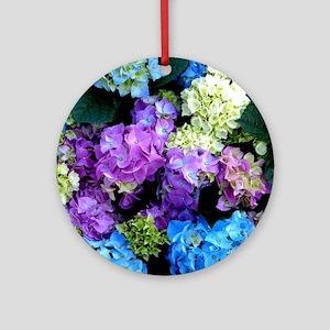 Colorful Hydrangea Bush Round Ornament