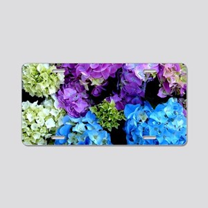 Colorful Hydrangea Bush Aluminum License Plate