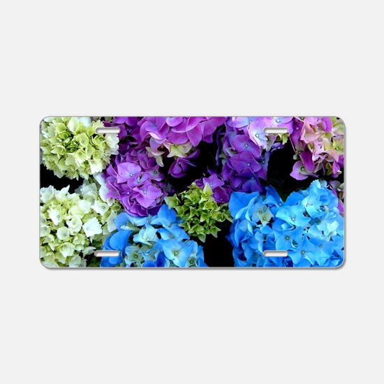Colorful Hydrangea Bush Aluminum License Plate