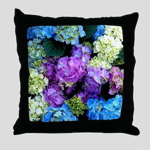 Colorful Hydrangea Bush Throw Pillow