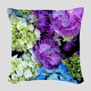 Colorful Hydrangea Bush Woven Throw Pillow
