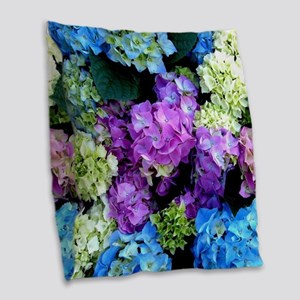 Colorful Hydrangea Bush Burlap Throw Pillow