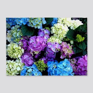 Colorful Hydrangea Bush 5'x7'Area Rug