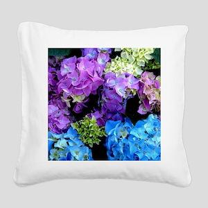 Colorful Hydrangea Bush Square Canvas Pillow