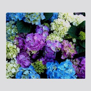 Colorful Hydrangea Bush Throw Blanket