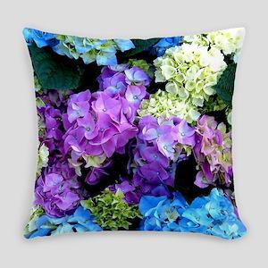 Colorful Hydrangea Bush Everyday Pillow