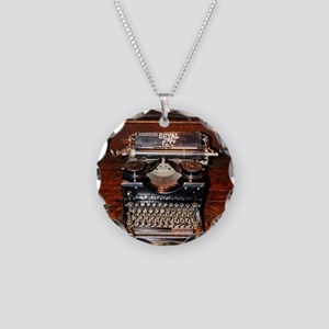 Vintage typewriter Necklace Circle Charm