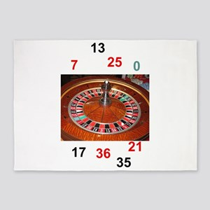 Casino roulette gaming wheel with n 5'x7'Area Rug