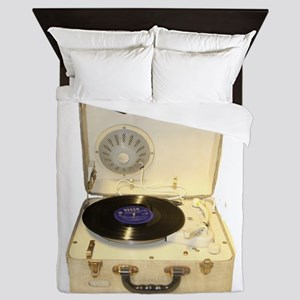 Vintage 1950s record player for vinyl Queen Duvet