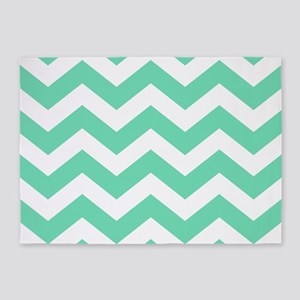Mint Green Zigzags 5'x7'Area Rug