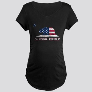 California Republic American Flag Maternity T-Shir