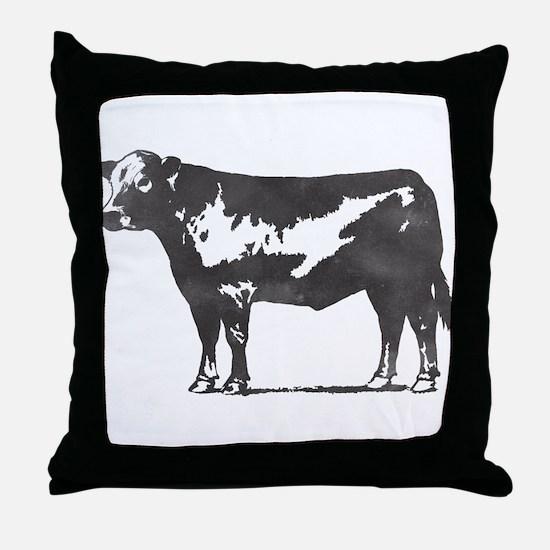 Simple Black Steer Cow Throw Pillow