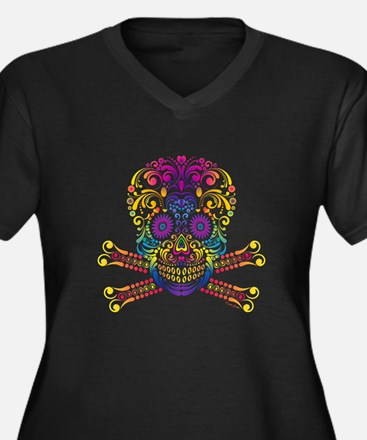 Decorative Candy Skull Plus Size T-Shirt