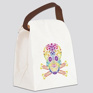 Decorative Candy Skull Canvas Lunch Bag