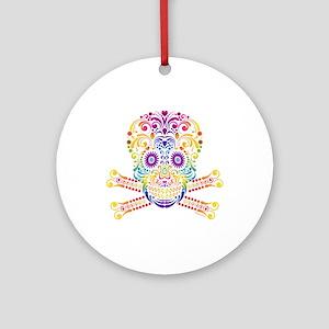 Decorative Candy Skull Round Ornament