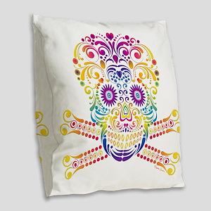 Decorative Candy Skull Burlap Throw Pillow