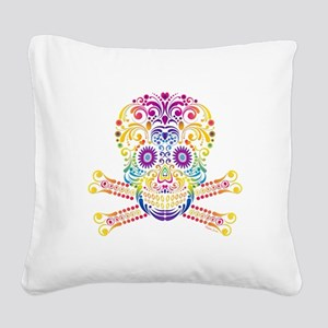 Decorative Candy Skull Square Canvas Pillow