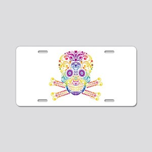 Decorative Candy Skull Aluminum License Plate