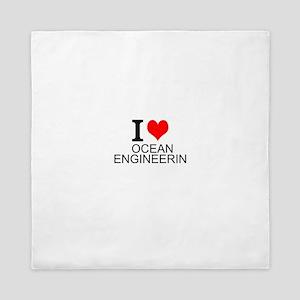 I Love Ocean Engineering Queen Duvet