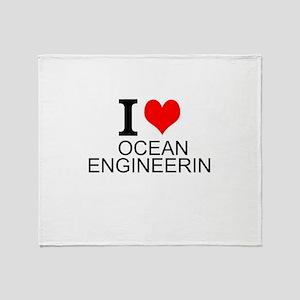 I Love Ocean Engineering Throw Blanket