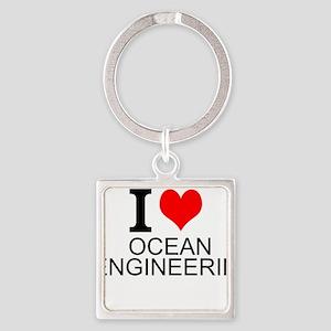 I Love Ocean Engineering Keychains