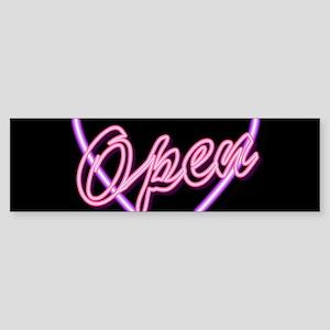 Neon Light Typography Heart Bumper Sticker