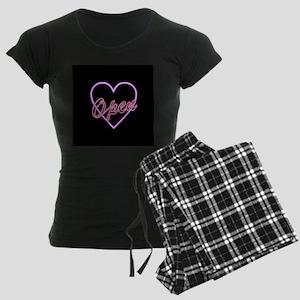 Neon Light Typography Heart Women's Dark Pajamas