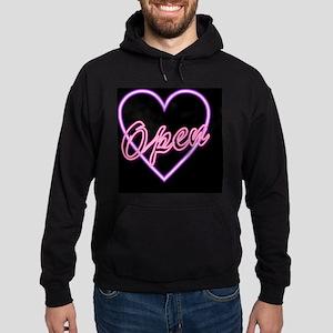 Neon Light Typography Heart Hoodie (dark)