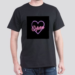 Neon Light Typography Heart T-Shirt