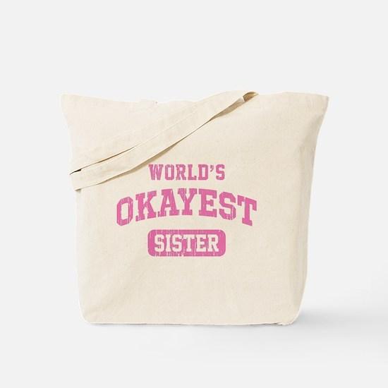 World's Okayest Sister Vintage Tote Bag