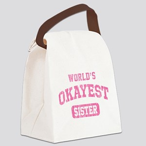 World's Okayest Sister Vintage Canvas Lunch Bag