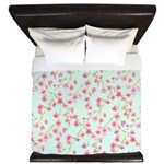 Cherry Blossom Pink on mint King Duvet