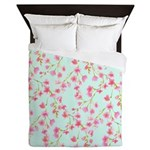 Cherry Blossom Pink on mint Queen Duvet