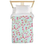 Cherry Blossom Pink on mint Twin Duvet