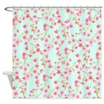 Cherry Blossom Pink On Mint Shower Curtain