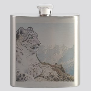 Snow Leopard Drawing Flask
