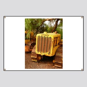 vintage yellow tractor Banner