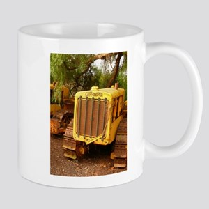 vintage yellow tractor Mugs