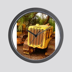 vintage yellow tractor Wall Clock
