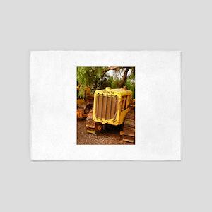 vintage yellow tractor 5'x7'Area Rug